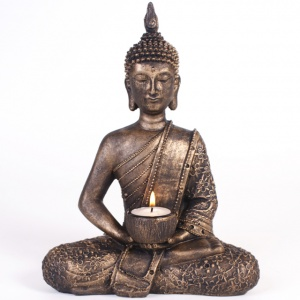 Sitting Thai Buddha Tealight Holder and Pack of 6 Prices Tea Lights (Sweet Vanilla)