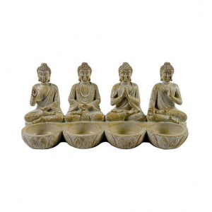 Sitting Buddhas  Tealight Holder and pack of 6 Prices Tea Lights (Sweet Vanilla)