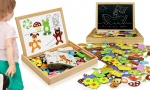 Children's Wooden Multifunctional Animal Puzzle Magnetic Drawing Board