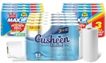 Cusheen 60 Rolls Quilted White Toilet Roll + Little Duck 3ply 24 Rolls