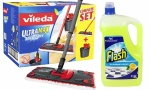 Vileda Ultra Max Flat Mop and Bucket Set with 5l of Flash All Purpose Cleaner