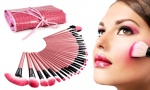 32 pc Pink Make Up Brush Set & Cosmetic Brushes Case
