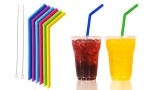 Eco-Friendly Reusable Silicone Drinking Straw With a Brush in Assorted Colors