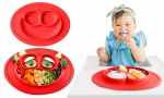 Smile Silicone One Piece Dinner Plate Sub-grid Baby Infant Encounter Box Plate