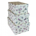 Set of Three Butterfly Print High Gloss Storage Boxes