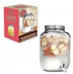8Ltr Glass Jumbo Jar with Tap & 4 Coloured Mason Jars with Lid