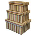 Set of Three Rectangular Striped Storage Boxes