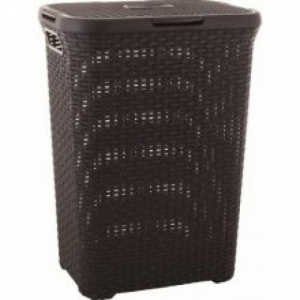 Curver 40 Litre Rattan Hamper Dark Brown