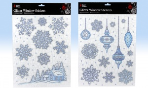 Christmas Window Stickers with Glitter - Assorted Designs