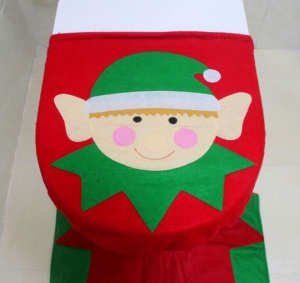 Novelty Christmas Elf Toilet Seat Cover & Mat